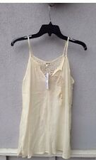 $63 NWT LA Made 100% Cotton Ivory V Tank With Embroidery Back Size S
