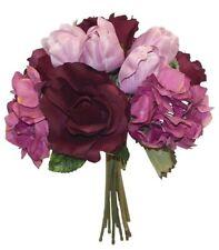 Bridal Bouquet Purple Roses Hydrangea Tulips Wedding Silk Flowers Centerpieces