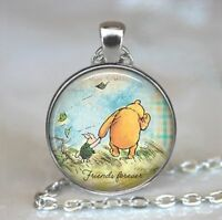 Friends Forever Photo Tibet Silver Cabochon Glass Pendant Chain Necklace