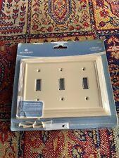 Brainerd 3-Gang Almond Decorator Standard Toggle Wood Wall Switch Plate #126488