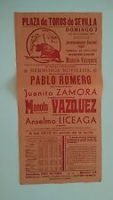 1951 Cartel Plaza de Toros Sevilla Pablo Romero Zamora Vazquez Liceaga Bullfight