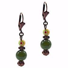 Copper Dangle Beaded Fashion Earrings Green Jade & Italian Millefiori Stone