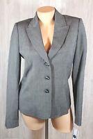 Atelier Womens Blazer Jacket Size 6 Black with White Thread Blue Lining New Work