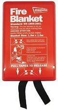 Streetwize Fire Blanket Safety 1M x 1M Quality CE Approved Red Plastic Case