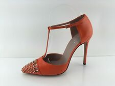 Gucci Women's Studded Orange All Leather Heels 39