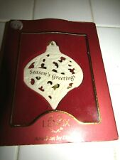 Nos Lenox Seasons Greeting Ivory Open Lace Cut Work Christmas Ornament