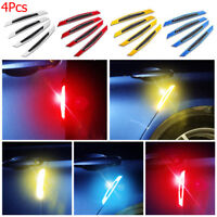 4Pcs Car Door Reflective Safety Warning Strip Anti-Collision Sticker Protector