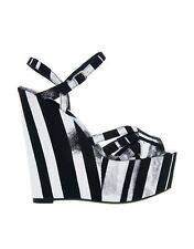 ALDO Black/White Printed Textile Wedge Platform Peep Toe Summer Sandal Shoes 4