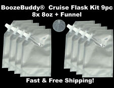 Plastic Flask Cruise Kit - Runners Rum Alcohol Wine 9pc- 8x 8oz + Funnel