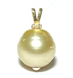 Oval Round 13.2 x 13mm Natural Gold Australian South Sea Cultured Pearl Pendant