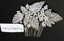 Wedding Belles Accessories Czech Crystal Pearl Hair Comb Bridal Hairpiece $95 NW