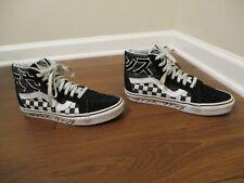 Used Worn Men's Size 7 Vans Sk8 Hi Japanese Type Skateboard Shoes Black White