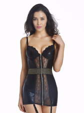 Sexy Black Quality Faux Leather Short Dress with Lace Gold Studs & Zip Size 8-10