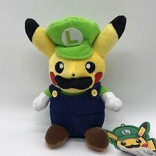 "Pokemon Mario Pikachu Crossover Luigi Pikachu Plush Soft Toy Doll Teddy 8.5"" NWT"
