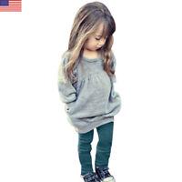 Toddler Kids Girls Warm Long Sleeve T-shirt +Long Pants 1Set Outfit Clothes Tops