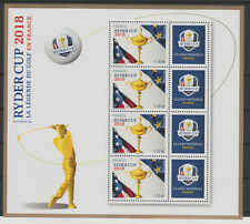 France 2018 - mini-feuillet Bloc 4 timbres Ryder Cup Golf LUXE MNH RARE !