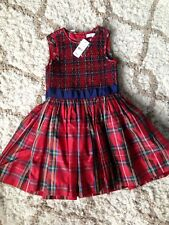 BROOKS BROTHERS Girls 100% Silk Smocked plaid Christmas Holiday Dress Size 6
