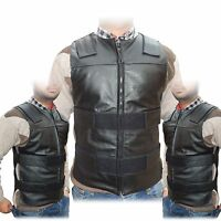 2Fit™ Men's Bullet Proof Style Motorcycle Biker Leather Vest-Black Small to 6XL