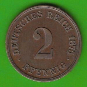 Kaisereich 2 Pfennig 1875 F IN XF Nice nswleipzig