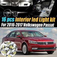 16Pc Super White Interior LED Light Bulb Kit Package for 2016-2017 VW Passat