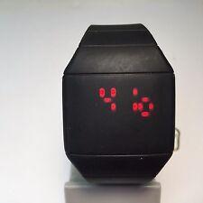 Ultra Slim Modern Touch RED LED Mens Black Square Digital Quartz Watch Hours