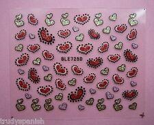 Día de San Valentín Rojo Brillo Love Corazones 3d Diseño De Uñas Stickers Calcomanías Nuevo (725d)