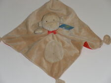 NWT Carters Tan Brown Monkey With Red Bow Satin Lining Security Blanket Rattle