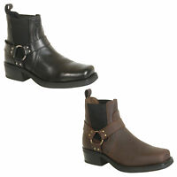 Mens Cowboy Western Style Biker Boots in Black or Brown Size 7 8 9 10 11 12