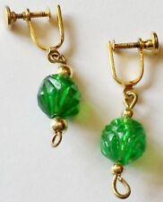 boucles d'oreilles vintage à vis pendantes couleur or perle résine verte *130