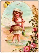 Beautiful Child At the Beach Victorian Trade Cards Poster Print Advertisement