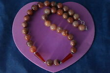"""Superb Necklace With Brown Agate And Carnelian Gemstones 16"""" Long In Gift Box"""