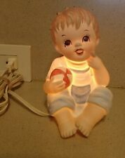 Vintage lefton little boy with ball night light lamp #1774