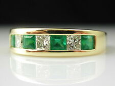 3.Ct Emerald Diamond Band 18K Yellow Gold Over Wedding Ring Princess Channel Set
