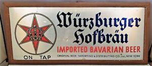 Vintage WURZBURGER HOFBRAU BAVARIAN BEER EASEL SIGN Bar or Package Store NR
