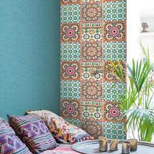 Grandeco Tapete - Luxus Botanisch marokkanische Kachel Muster orange pink -