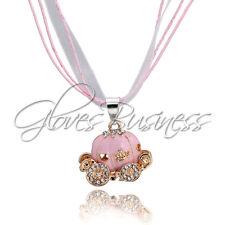 1PC Ribbon Necklace Pink Cinderalla Pumkin Carriage Pendant Kid Necklace