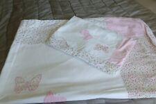 Laura Ashley white + pink butterflies cotton single duvet cover & pillowcase XC