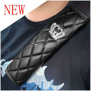 2Pcs Universal PU Seat Belt Cover Shoulder Pad Crown with Rhinestone For Car/Bag