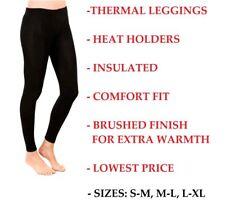 WOMENS LADIES WARM WINTER HEAT RETAINER FOOTLESS STRETCH BLACK THERMAL LEGGINGS