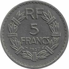 FRANCE 5 FRANCS NICKEL LAVRILLIER 1937 SUP-