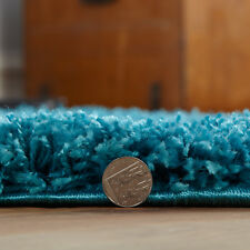 Modern Quality Shaggy Circle Rug Turquoise Blue 133cm Round 5cm Thick Non Shed