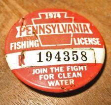 Pennsylvania Fishing License Badge, 1974, Vintage B