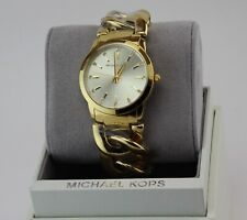 NEW AUTHENTIC MICHAEL KORS ELENA GOLD CHAIN WOMEN'S MK3608 WATCH