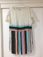 Marella Ladies Rayon Striped Shift Dress Size 10 Good Condition