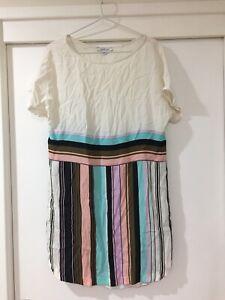 Marella Ladies Rayon Striped Shift Dress Size 10 Good Condition