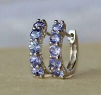 1.10Ct Round Cut Tanzanite Diamond Huggie Hoop Earrings 14K White Gold Finish