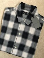 "ALL SAINTS INK CHECK ""GRENTSCH"" SHORT SLEEVE SHIRT TOP - XS S M L - NEW & TAGS"
