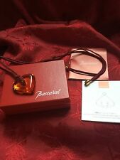 NEW FLAWLESS Exquisite BACCARAT Crystal Amber LOVE HEART PENDANT NECKLACE
