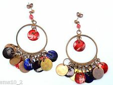 "Copper, Red & Blue Multi Colour ""Shell"" Chandalier Earrings CJE907"