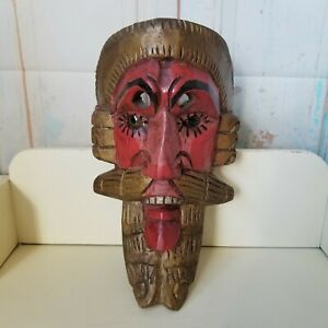Vintage Hand Carved Wood Mask Wall Hanging Plastic Eyes